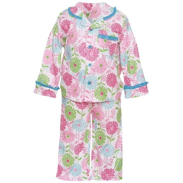 Absorba Baby Girls Pink Blue Trim Floral Print Button 2 Pc Pajama Set