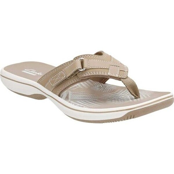 ca0e8f229b2e Shop Clarks Women s Breeze Sea Flip Flop Taupe Linen - On Sale ...