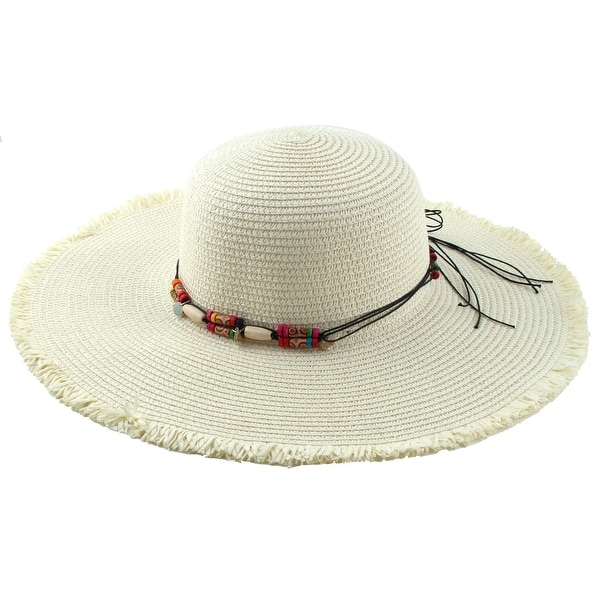 2f6cc3a9b3d14 Women Lady Straw Beads Decor Brimmed Beach Hat Foldable Topee Floppy Cap  White