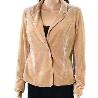 Kensie Beige Velvet Women's Size Small S Notch-Collar Blazer