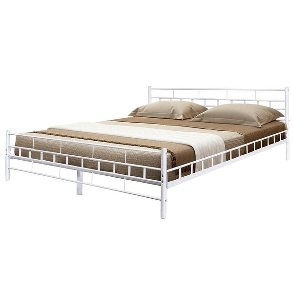 Shop Costway White Queen Size Wood Slats Bed Frame