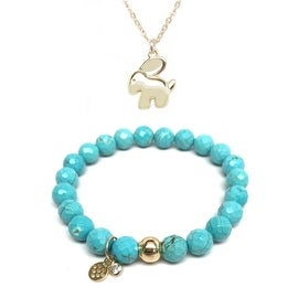 "Turquoise Magnesite 7"" Bracelet & Bunny Gold Charm Necklace Set"