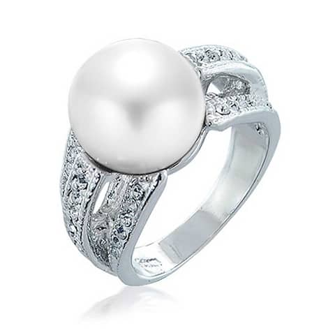 Crystal White Imitation Pearl Cocktail Ring For Women Rhodium Plated