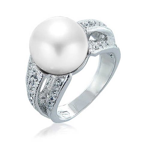 CZ Solitaire White Imitation Pearl Ring For Prom Silver Plate Brass
