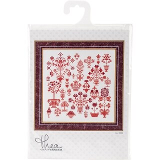 """Antique Flower On Aida Counted Cross Stitch Kit-13.25""""X13.25"""" 18 Count"""