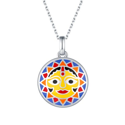 Vedantti Madhubani Art Multi Color Enamel Sun Round Pendant With Chain