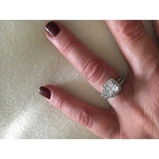 ICZ Stonez Sterling Silver Cubic Zirconia Princess Halo Bridal Set - White