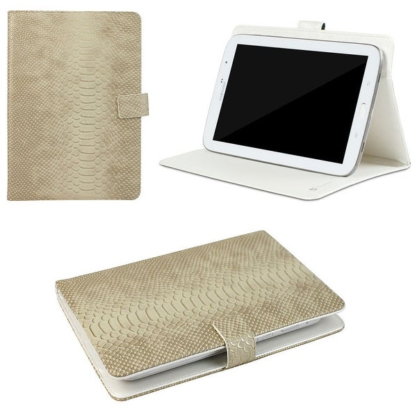 "JAVOedge Beige Crocodile Pattern Universal Book Case for 7-8"" Tablets, iPad Mini, Samsung Tab, Nexus 7, Nook HD and More"