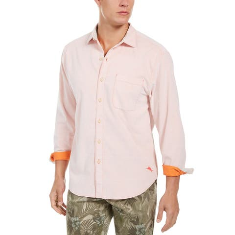 Tommy Bahama Mens Shirt Pink Size 2XL Button Down Classic Coastal Cord