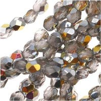 Czech Fire Polished Glass Beads 3mm Round Crystal Marea (50)