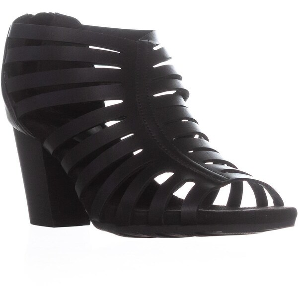Easy Street Dreamer Zip Up Heeled Sandals, Black