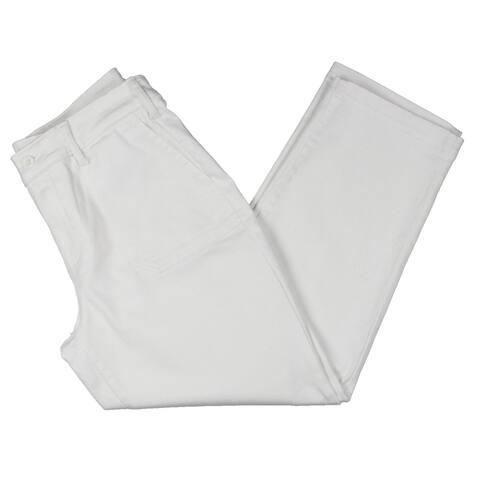 NYDJ Womens Straight Leg Jeans Denim Mid-Rise - Optic White
