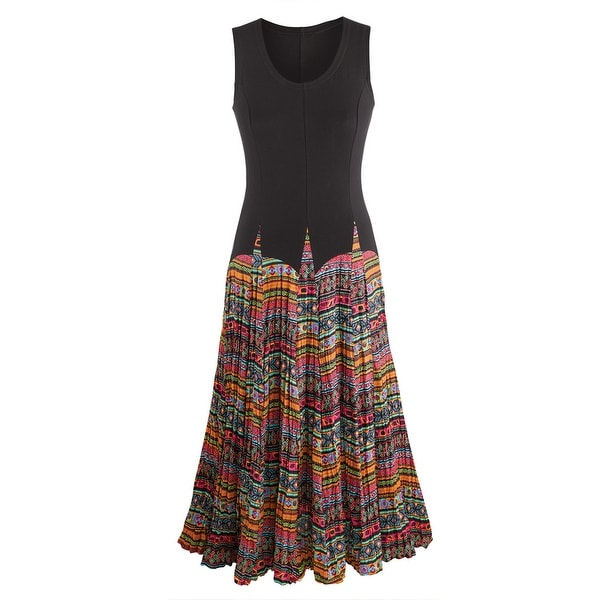 Women's Mixed Fabrics Maxi Dress - Black Sleeveless Top Patterned Skirt - multicolor