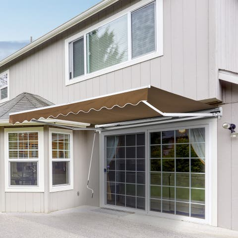Outsunny 10' x 8' Manual Retractable Sun Shade Patio Awning with UV Protection and Easy Crank Opening, Coffee Brown