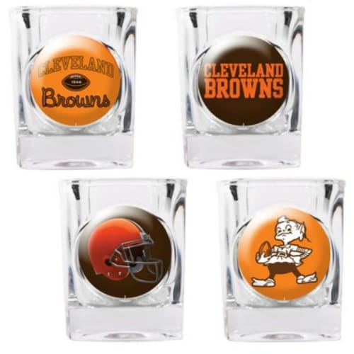 """Great American Products Cleveland Browns Shot Glass Set 4pc Collectors Shot Glass Set"""
