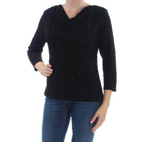 MSK Womens Black Drape Neck 3/4 Sleeve Cowl Neck Sweater Size M