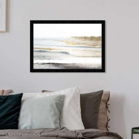Oliver Gal 'Beach Landscape White' Nautical and Coastal Wall Art Framed Print Coastal - Gold, White