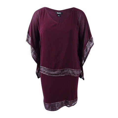 SL Fashions Women's Embellished Chiffon Cape and Dress - fig/silver