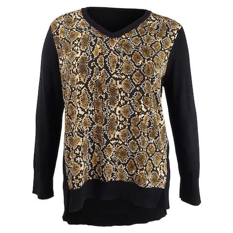 DKNY Women's Mixed-Media Sweater (XL, Black/French Vanilla Multi)