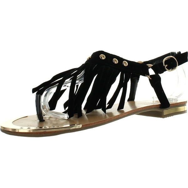 Forever Tyler-27 Womens New Fringed Studded Rhinestones Sandal Tassels Shoes