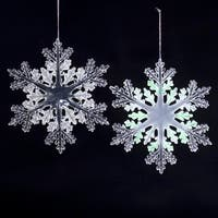 Pack of 24 Icy Crystal Iridescent Clear & Frosted Snowflake Christmas Ornaments