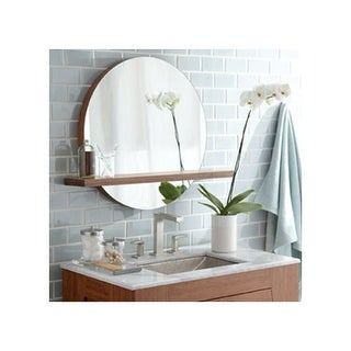 """Native Trails MSH222 Solace 22"""" Woven Strand Bamboo Wall Mounted Mirror Shelf - beige"""