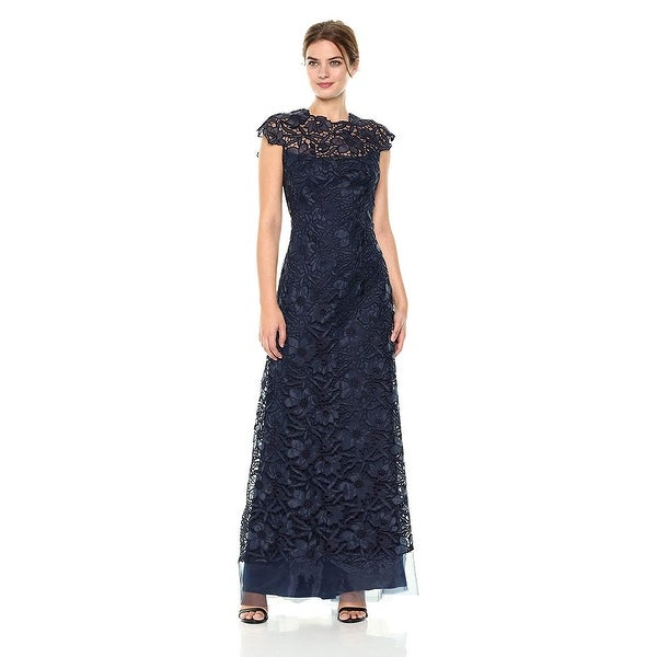 20d57b05b66f Shop Tadashi Shoji Floral Illusion Cap Sleeve Evening Gown Dress Navy -  Free Shipping Today - Overstock - 27617566