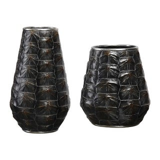 "Set of 2 Brown and Gold Kapil Decorative Vases 14"" - N/A"