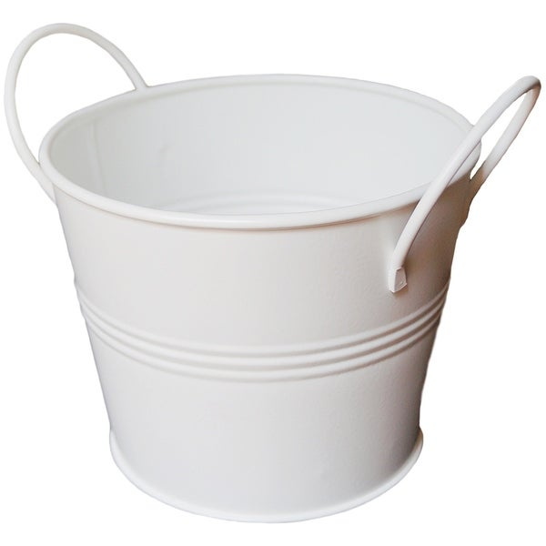 "Galvanized Bucket With Handles 5.75""X6.75""-White"