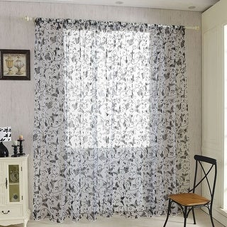 Home Door Voile Drapes Window Butterfly Decor Sheer Curtains Panel 5 Colors