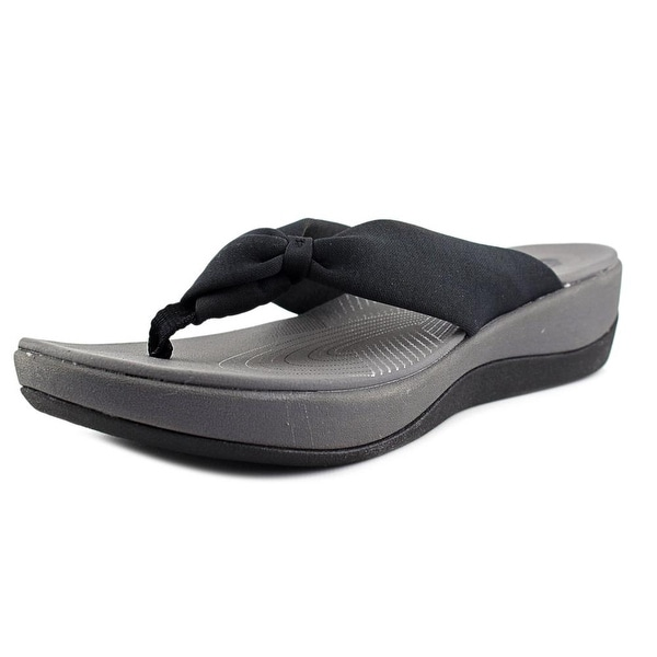 Clarks Narrative Arla Glison Women Open Toe Canvas Black Flip Flop Sandal