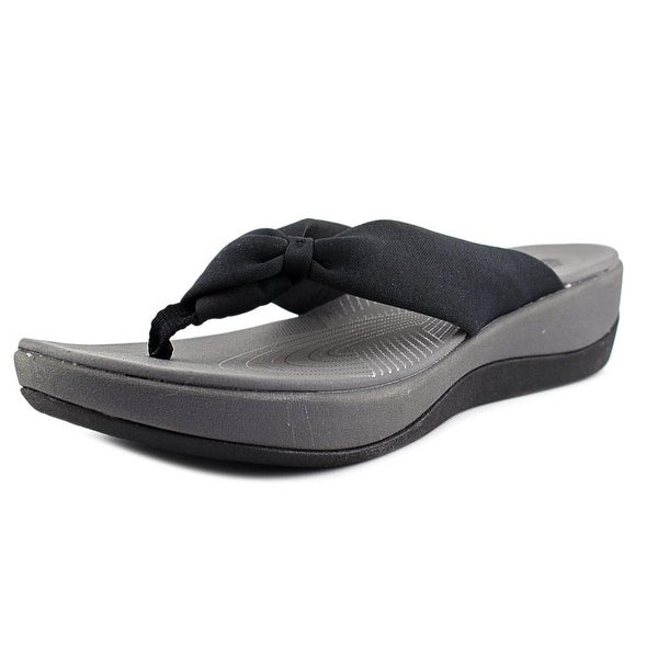 d3125c1105d3 Clarks Narrative Arla Glison Women Open Toe Canvas Black Flip Flop Sandal