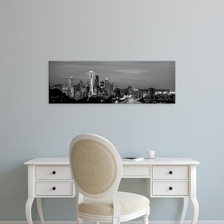 Easy Art Prints Panoramic Image 'Skyscrapers in a city lit up, Space Needle, Seattle, Washington' Canvas Art