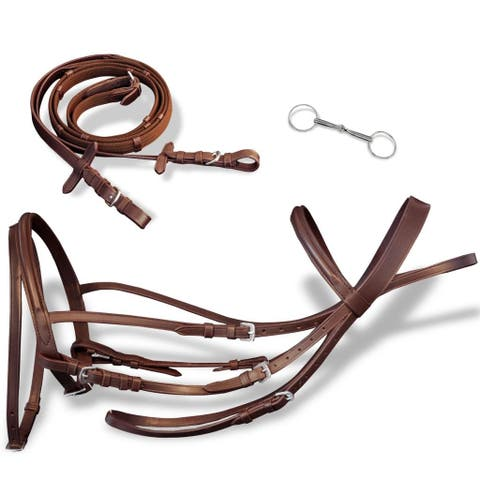 vidaXL Flash Bridle w/ Reins and Bit Adjustable Leather Brown Pony Horse Tack