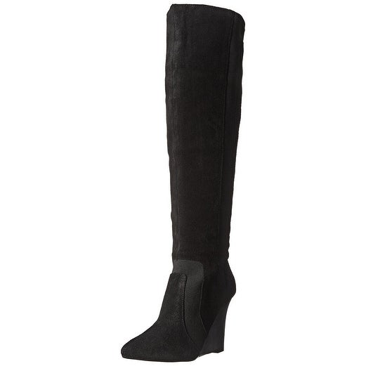 Report Signature Womens Islah Leather Pointed Toe Knee High Fashion Boots