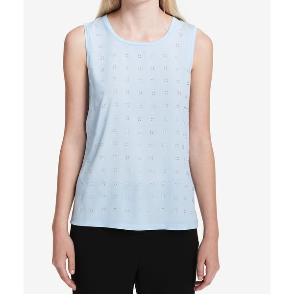 5153da1b485879 Shop Calvin Klein NEW Blue Womens Size Small S Studded Crewneck Tank Top -  Free Shipping On Orders Over  45 - Overstock - 21429901