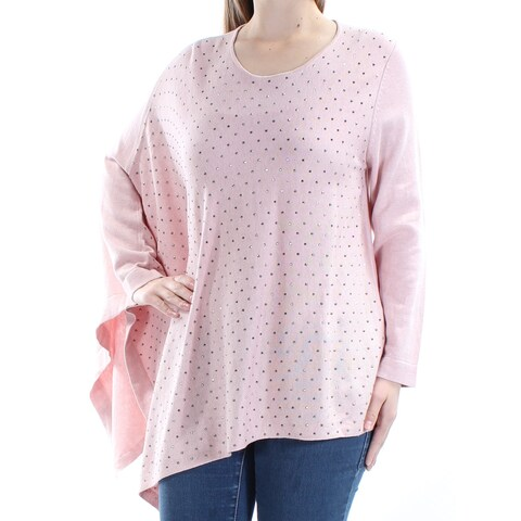 Womens Pink Long Sleeve Jewel Neck Casual Trapeze Sweater Size M