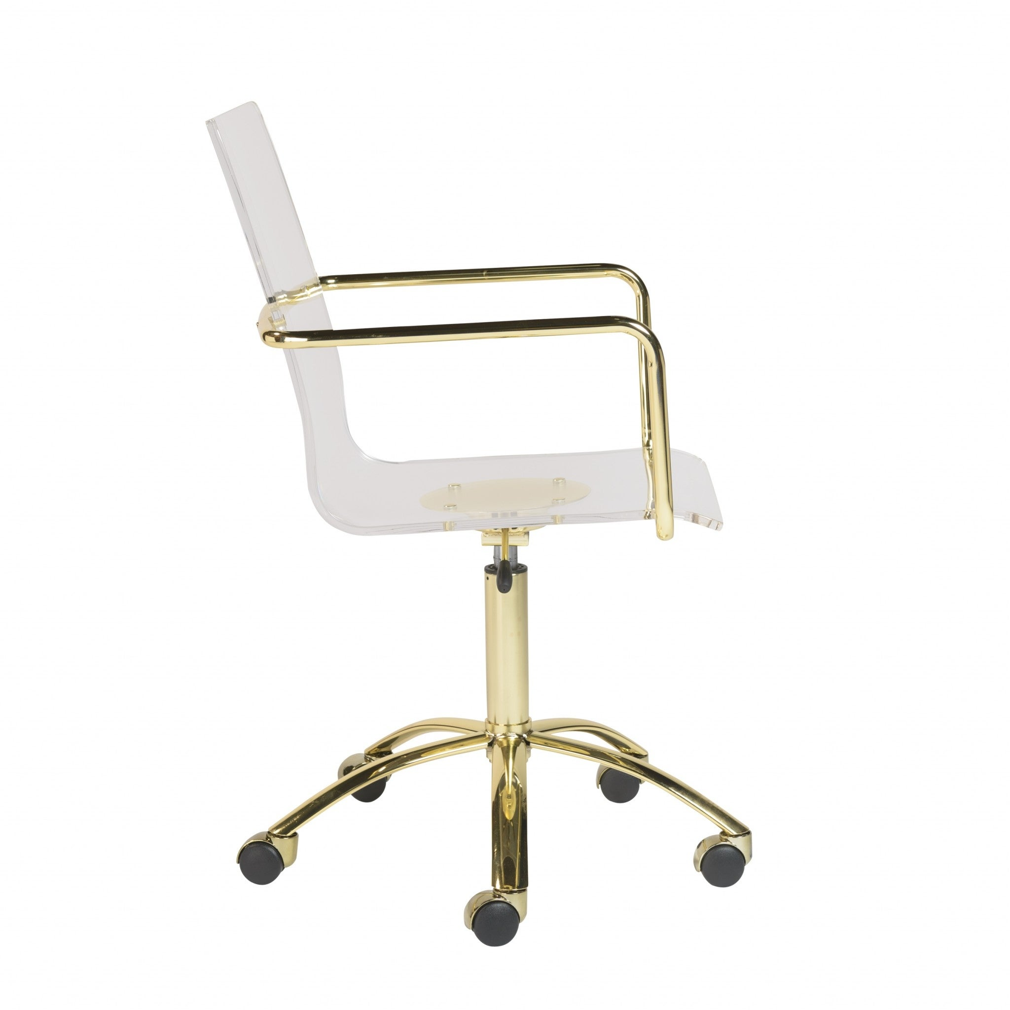 Image of: Shop Homeroots 20 52 X 22 01 X 39 49 Office Chair In Clear Acrylic With Gold Base 20 52 X 22 01 X 39 49 Overstock 31959300