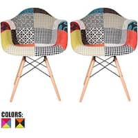 2xhome Set of 2 Fabric Patchwork Patterned Multi-color Wood Natural Home Shell Molded Armchairs Accent Living Room Dining Chair