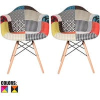 2xhome - Set of 2 Plastic Chair Dining Chairs Fabric Patchwork Multi-color Wood Natural Leg Base Hom