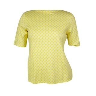 Charter Club Women's Printed Half Sleeves Bateau Top - sun yellow combo