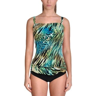 It Figures! Womens Plus Ruffled Shaping One-Piece Swimsuit