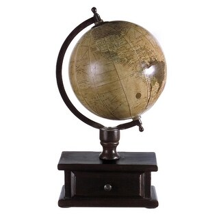 "16"" Sophisticated Table Top Globe with Wooden Storage Drawer"