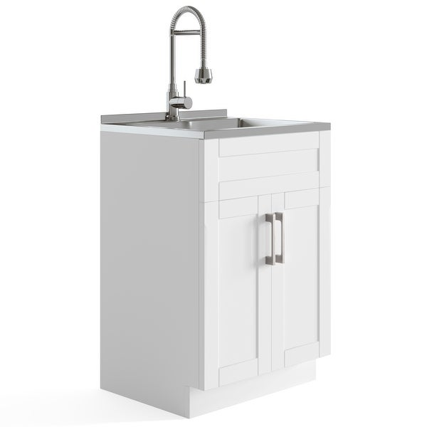 WYNDENHALL Hartland Contemporary 24 inch Laundry Cabinet with Faucet and Stainless Steel Sink - 23.6'' W x 52'' H x 19.7'' D. Opens flyout.