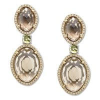 12 3/4 ct Smoky Quartz and 3/8 ct Peridot Earrings in Sterling Silver and 14K Gold - Smokey