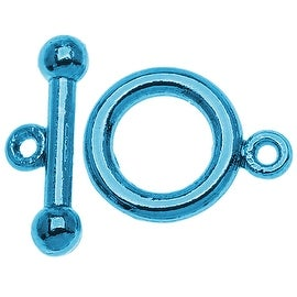 Baby Blue Color Pewter  - Toggle Clasps 6mm (4 Sets)