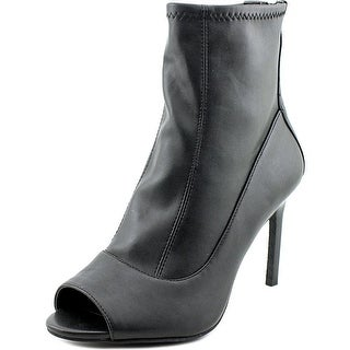 Tahari Leon Women Open-Toe Leather Black Ankle Boot