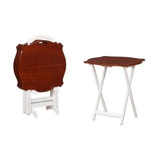"Powell Home Fashions 15A8088TT-2  23 1/2"" Wide Wood Veneer Folding Tray Table Set of 4 - Hazelnut"