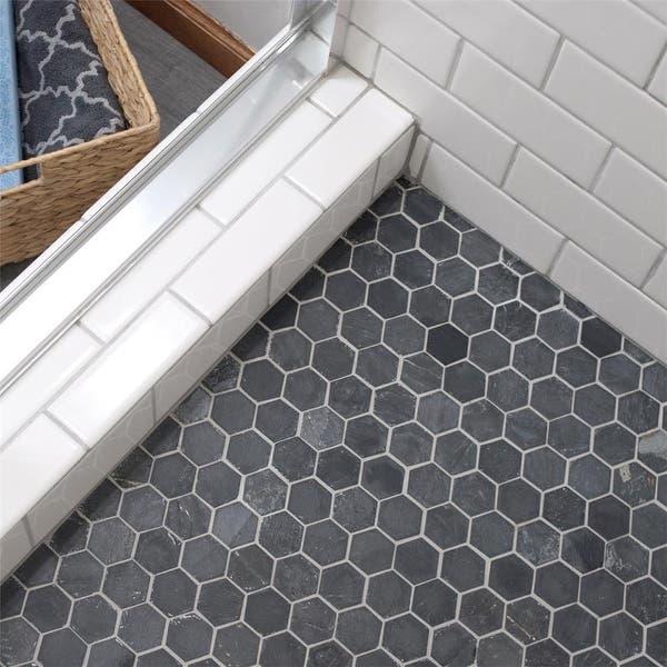 Inch Ridge Hexagon Black Slate Mosaic