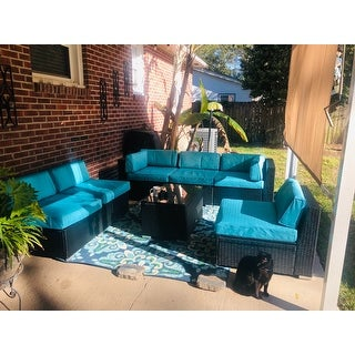 Kinbor 7-piece Outdoor Furniture Set Cushioned Rattan Wicker Sofa Inclined All-Weather Patio Sectional Sofa Set